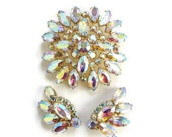 Vintage 1960s Aurora Borealis Rhinestone Brooch Clip Earrings Set Goldtone Setting