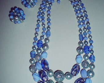 Vintage 50's 'Something Blue' Glass Beaded 3 Strand Wedding Jewelry Set