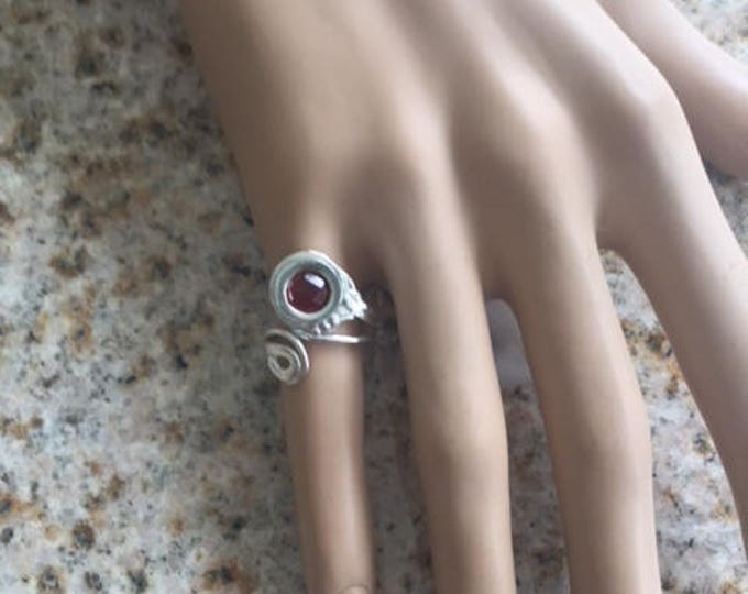 Item 187 999 Fine & 925 Sterling Silver Swirls Handcrafted Unique Sculpted Adjustable Ring Size 3-5.5 with Garnet CZ Great Pinky Ring