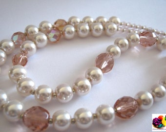 pink rose pearl beaded long necklace