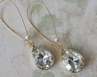 Swarovski Clear Crystal Earrings Wedding Bridal Crystal Jewelry Swarovski Crystal Drop Earrings Crystal Teardrop Gifts for Mothers Day