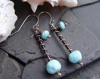 American Turquoise and Artisan Lampwork Earrings