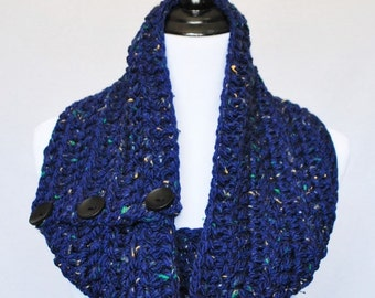 SALE! Blue Tweed Button Cowl, Crochet Neck Warmer, Chunky Button Infinity Scarf, Navy Blue Button Scarf, Wrap Scarf