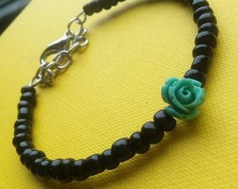 Beaded Flower Choker and Bracelet
