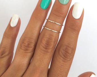 2 Silver Simple Band Midi Rings. Non tarnish, mid knuckle stacking rings