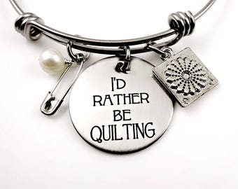 Quilter Bracelet, I'd Rather Be Quilting Bracelet, Quilter Necklace, Gift for Quilter, Quilt Square, Quilting  Pins, Quilter Gift