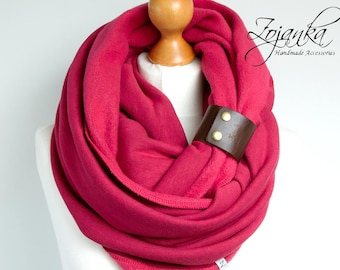 CHUNKY SCARF Infinity Scarf with leather band, winter scarf, pink chunky scarf, hooded scarf, hood scarf,infinity scarves,winter accessories