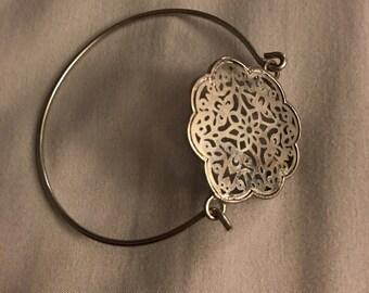 Floral Silver Bangle Bracelet