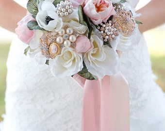 Custom Peony Anemone Rose Silk Flower Gold Brooch Bouquet, Blush Real Touch Artificial Bouquet, Bridal Bouquet, Greenery, Faux Bouquet