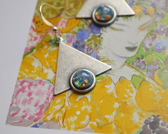 """""""Art nouveau"""" silver, speckled blue cabochon earrings"""