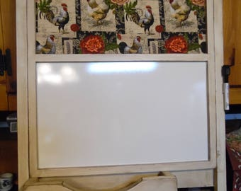 Farm House/Rooster Fabric/Message Board/ Message Organizer/CookBook Holder/