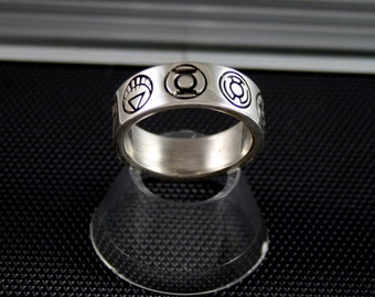 Custom 9 symbol Silver Green Lantern Power Ring to rule them ALL red, yellow, blue, white, black,  green, indigo, Saphire, Orange