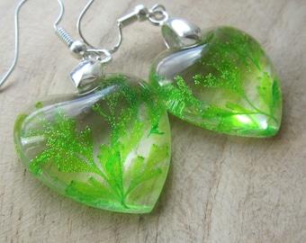 lime green flower earrings, resin earrings, valentine gift, nature lover gift, resin jewelry, flower jewelry, resin jewelry, flower earrings