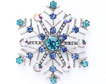 Snowflake Brooch, Blue Christmas Brooch, Blue Snowflake Brooch, Something Blue Winter Wedding, Rhinestone Snowflake Pin, Christmas Broaches