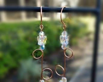 Copper Swarovski Butterfly Earrings