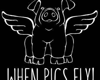 Chester White Pig - When Pigs Fly Decal