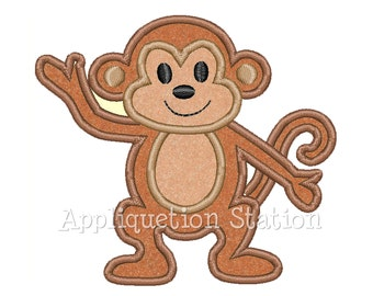 Monkey Tropical Applique Machine Embroidery Design Cute boys or girls INSTANT DOWNLOAD