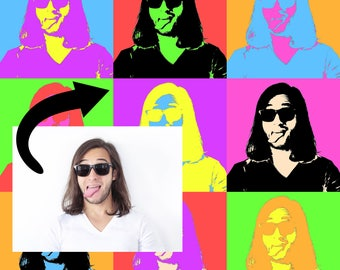 Custom Personalized Andy Warhol Style Pop Art Canvas [FREE Shipping!]