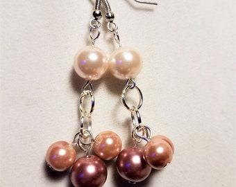 Rose Pink Glass Pearl Earrings