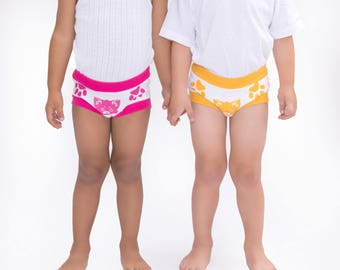 Toddler training pants, unisex cotton underwear with fun cat animail print with comfy feel, Free shipping within the USA