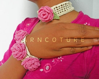 The Victorian Crochet Rose Choker - Featuring Vintage Buttons