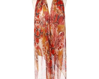 Womens Scarf, Floral Scarf, Floral Print Scarf, Chiffon Scarf, Voile Scarf, Cotton Scarf, Brown Scarf, Red scarf