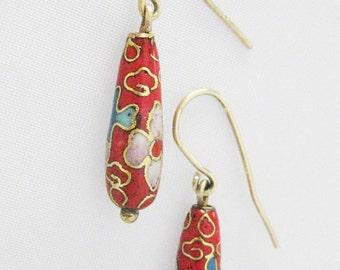 Women's Vintage Red Cloisonne 14k Yellow Gold Earring Drops