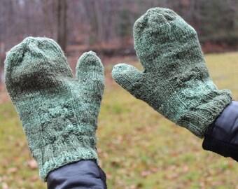 Silk/wool Owl Hand Knit Mittens