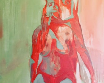 Trippy, energic painting, figurative, original contemporary art - Make me feel again