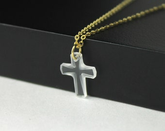 Cross Necklace Gold - Swarovski Cross - 14K Gold Filled - Tiny Crystal Cross - Prom, Graduation Gift