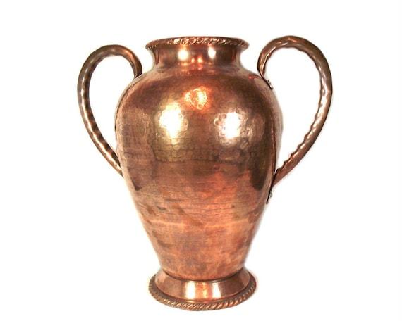 """Huge 16"""" Hammered Copper Vase"""