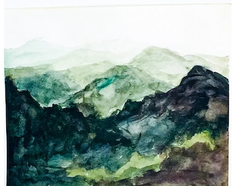 Blue Ridge Mountains valleys and Mountains  art watercolor painting giclée print contemporary fine art mountain ranges wall art