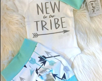 New to the tribe outfit, newborn outfit, newborn girl coming home outfit, take home outfit girl, baby girl, take home outfit, hello world