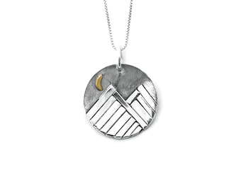 Mountain Necklace, Silver Disc Necklace, Mountain Pendant, Mountain Jewelry, Silver Coin Pendant, Coin Necklace, Sterling Silver, Handmade
