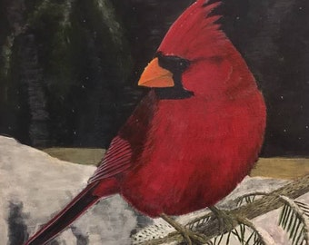 Haiku Graduation Card--Cardinal of High Fashion--Original Wildlife Art