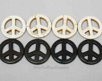 Magnesite Peace Signs. Black and White Gemstones Peace Signs. 25mm. Drilled lengthwise.
