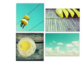 beach canvas art, beach art, beach photography, summer, yellow, aqua - canvas art set - fresh summer