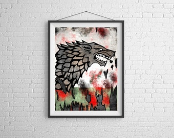 Stark,House Stark Banner,Game of Thrones Art , Game of Thrones,GOT,Art & Collectibles, movie poster,  stark wolf,  direwolf,  print 11x14