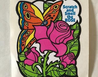 Vintage 1980s Mello Smello Scratch & Sniff Rose Sticker