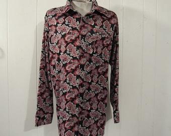 Vintage shirt, 1970s shirt, Disco shirt, vintage 1970s shirt, retro shirt, paisley shirt, XXL shirt, vintage clothing, XXL
