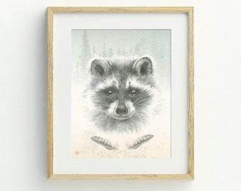 Nursery Wall Art, Raccoon Art Print, Raccoon Art, Animal Wall Art, Boho, Wildlife Print, Bohemian, Hand Drawn Archival Print, Nursery Print