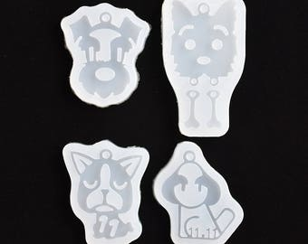 Cute Puppy Dog pendant Resin Silicone Mould with hole handmade DIY Jewelry epoxy charms pendant resin molds