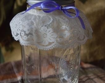 12 Quart Mason Jar Lace Centerpieces