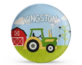 Personalized Plate, Boys Tractor Plate, Personalized Farm Birthday Melamine Cake Plate