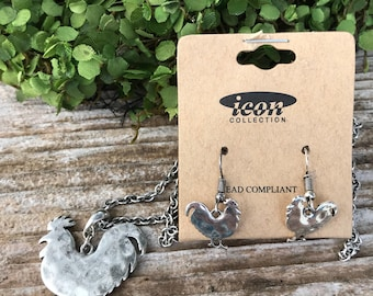 Silver chicken necklace with matching earrings