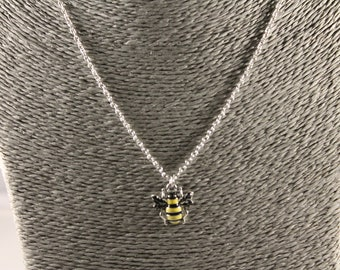 Bumble bee pendant necklace, yellow, black, charm