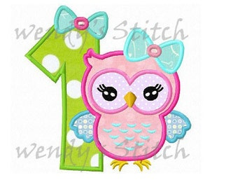 Girl owl birthday number 1 applique machine embroidery design