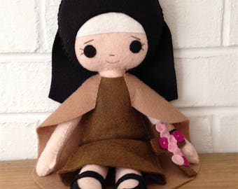 Catholic Toy Doll - Saint Therese of Lisieux - Wool Felt Blend - Catholic Toy - Felt Doll