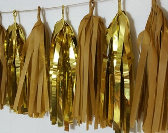 Only 15.99, 20 Tassel Academy Awards Tissue Paper Garland, Oscars Party, Metallic Gold, Party Decoration, Wedding Decorations, Banner, Poms