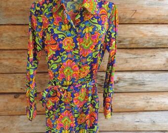 Vintage 1960's Lanz Originals Retro Long Sleeve Dress Women Size 9
